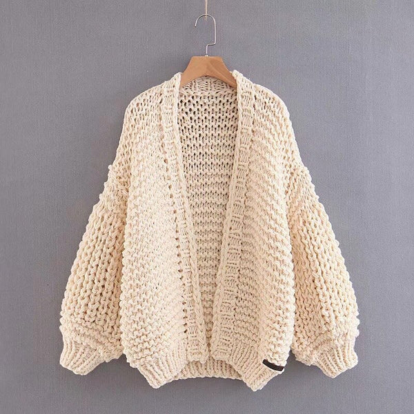 Female Streetwear Style Knitted Open Stitch Lantern Long Sleeve Cardigan Shopziy