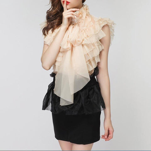Sleeveless Perspective Bowknot Ruffles Shirts SHOPZIY