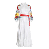 O Neck Lantern Sleeve High Waist With Sashes Long Dress SHOPZIY