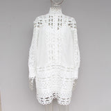 Stand Collar Lantern Long Sleeve Patchwork Lace Mini Dress SHOPZIY