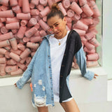 Female Patchwork Denim Long Sleeve Lapel Collar jacket shopziy