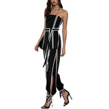 Two Piece Set Women Sleeveless Off Shoulder Bandage Top High Waist Side Split Pants shopziy