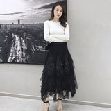 Female Hollow Out Polka Dot High Waist Mesh Irregular Skirt shopziy