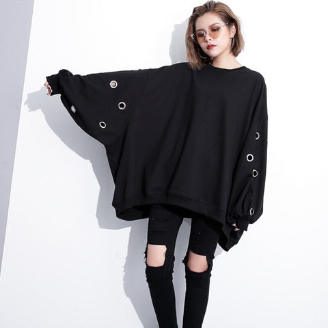 Female Hollow Bat Sleeve Round Neck Plus Size Sweater Shopziy