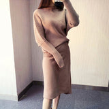 Female Irregular knitted long sleeve Pullover Top with skirt Shopziy