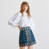 High Waist Beading Patchwork Slim Mini SkiRT SHOPZIY