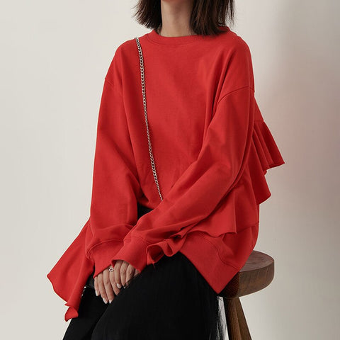 Female Ruffle Round Neck Long Sleeve Sweater