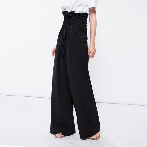 Female Lace up wide leg high waist pants shopziy