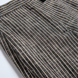 Female Linen wide leg striped high waist pocket long pants shopziy