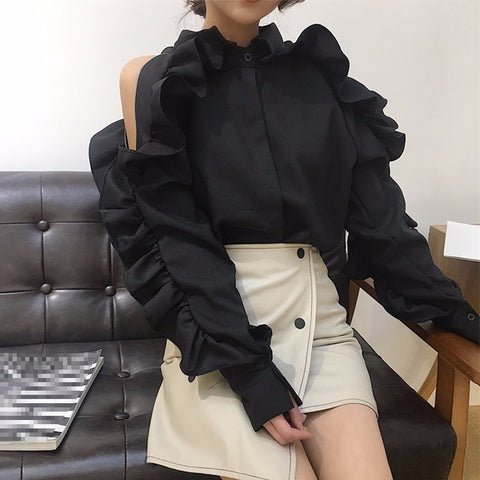 Off Shoulder Ruffles Patchwork Lapel Collar Zipper Long Sleeve Blouse SHOPZIY