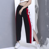 Female Patchwork Loose Buttons Pants shopziy