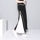 Female Patchwork wide leg chiffon high waist Split pleated pants shopziy