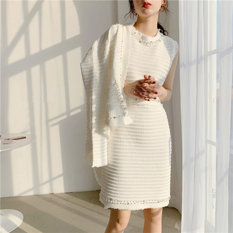 Female Pearl Patchwork Two Piece Cardigan Set Long Sleeve Round Neck Sleeveless Dress