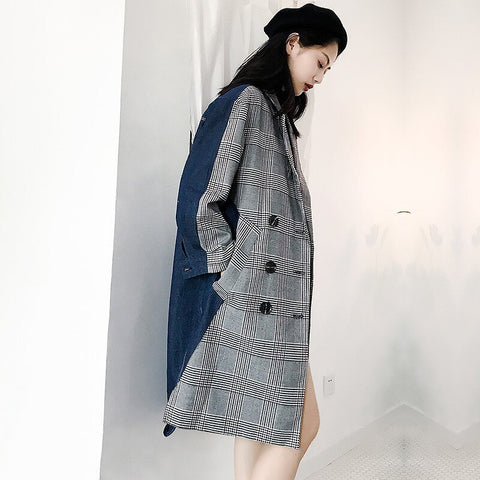 Female Plaid Loose Patchwork Denim Coat shopziy