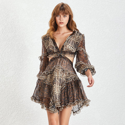 V Neck Lantern Sleeve Hollow Out Mini Dresses SHOPZIY