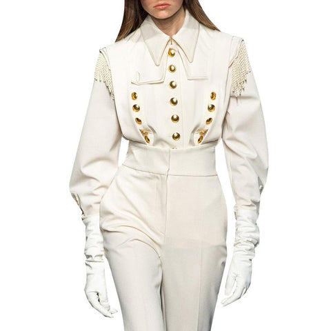 Female Vintage lapel collar Long sleeve blouse shopziy