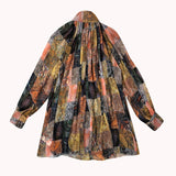 Female Vintage print long sleeve lantern stand collar blouse Shopziy