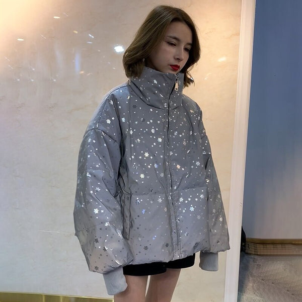 Female lantern turtleneck long sleeve loose Jacket shopziy