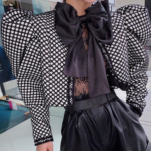 Female plaid round neck puff Jacket shopziy