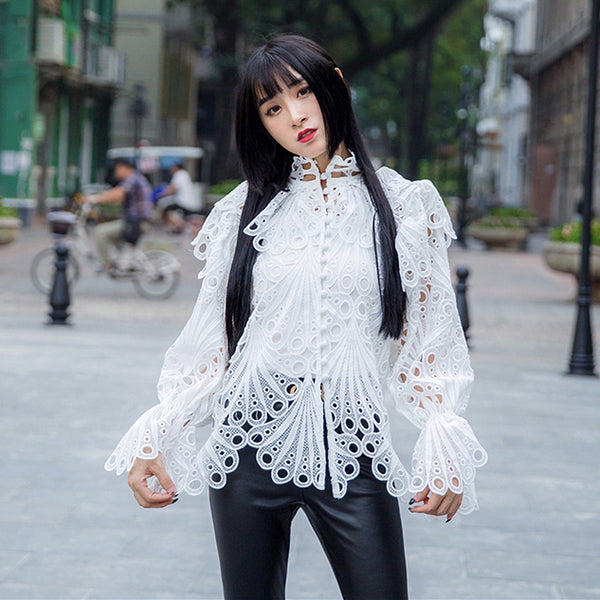 Female White High Neck Flare Sleeve Hollow Out Shirt shopziy