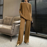 Female two piece knit round neck long sleeve sweater with wide leg pants Shopziy