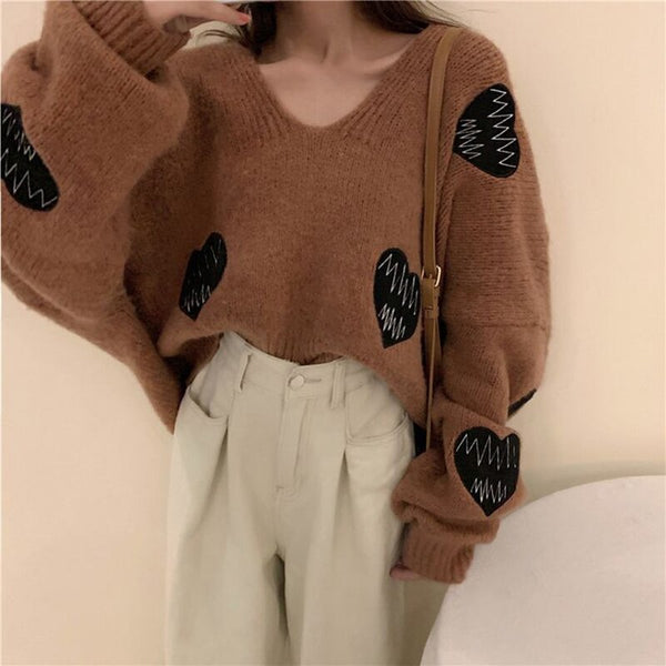 Female embroidery heart round neck long sleeve large size sweater Shopziy