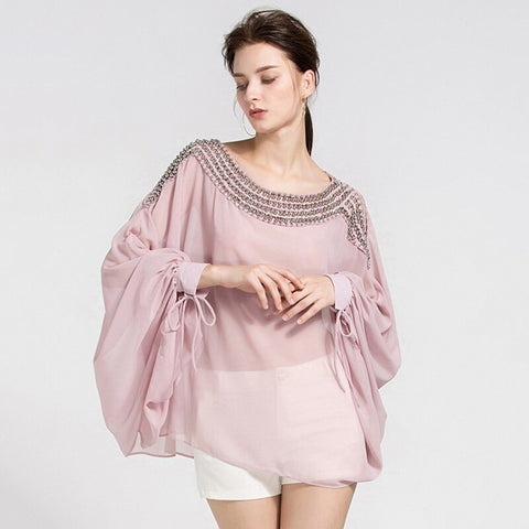 Female Beading Bat Sleeve Detailed Blouse shopziy