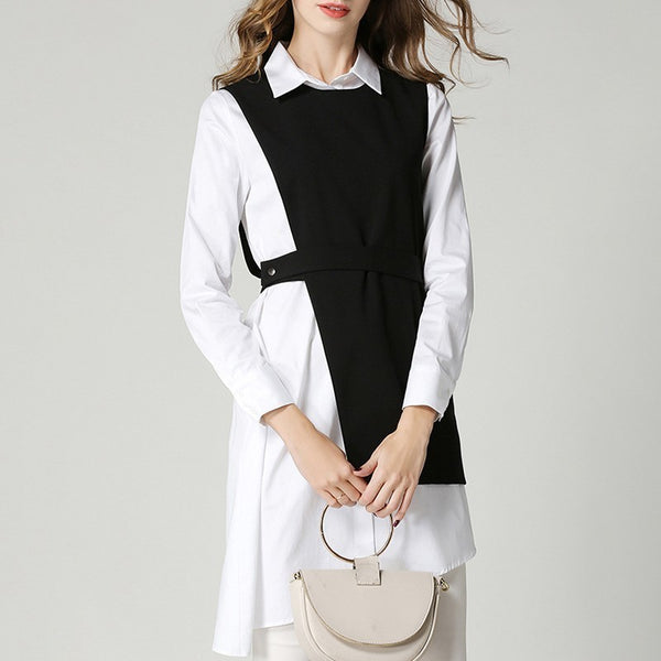 Female Asymmetric Long Sleeve Irregular Shirt Dress shopziy