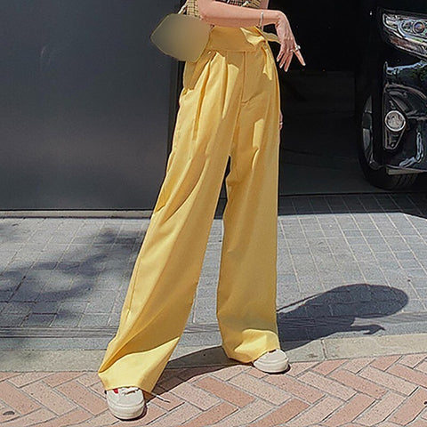 Female high waist wide leg pants shopziy