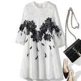 O Neck 3/4 Lantern Sleeves Embroidery Lace Tassels Loose Dress