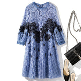 O Neck 3/4 Lantern Sleeves Embroidery Lace Tassels Loose Dress SHOPZIY