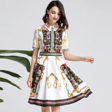 Turn Down Collar Short Sleeves Printed High Street Dress