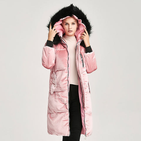 New Big Fur Collar Thickening hooded coat SHOPZIY