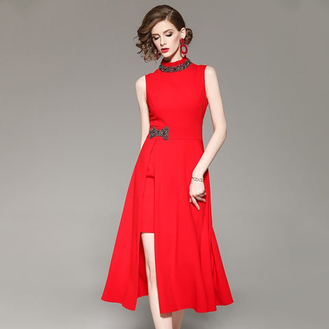 beading collar waist bow red dress shopziy
