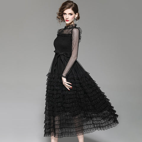 Transparent shoulder sleeve stand collar black ruffled bottom ankle length dress SHOPZIY