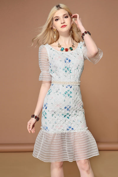 Runway Half Sleeve White Hollow out Mermaid Dress shopziy
