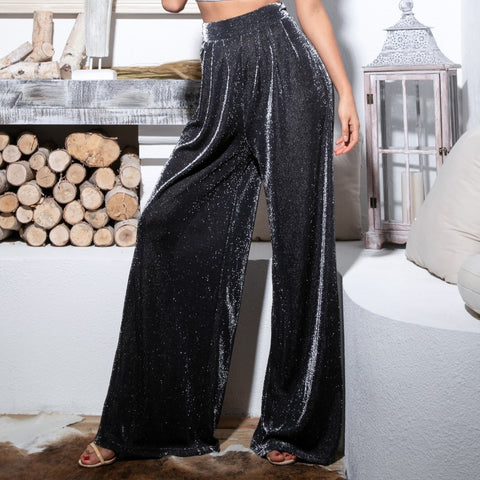Black High Waist Flash Fabric Wide Leg  Pants SHOPZIY