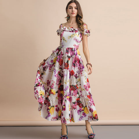 Summer  Spaghetti Strap Slash neck Ruffles Floral Print dress