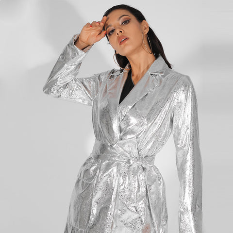 Reflective Silver Lapels Loose Long Sleeves PU Material Coat (With Belt) shopziy