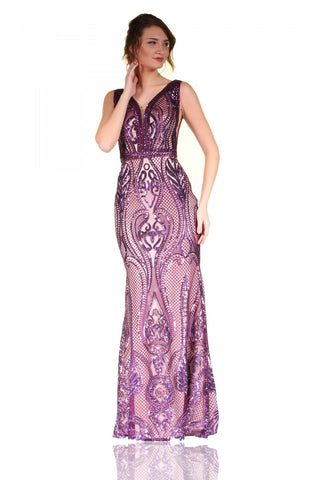 Pierre Cardin Plum Low Cut V Neck Mermaid  Evening Dress