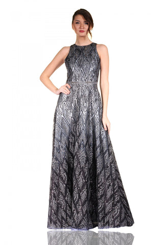 Pierre Cardin Silver Sequined Gradient Evening Dress