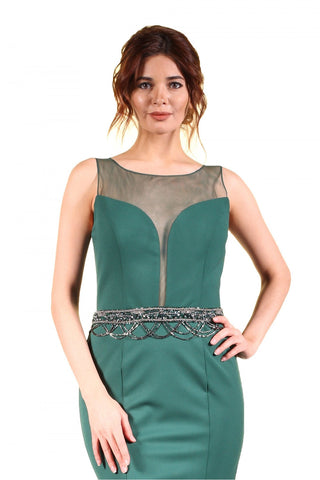 Pierre Cardin Green Cape Pulley Embroidered Mermaid Evening Dress