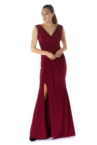 Pierre Cardin Burgundy Sandy Long Slit Evening Dress