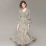 flare sleeve v-neck leopard pattern print dress SHOPZIY