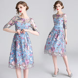silver leaf pink floral pattern embroidery dress