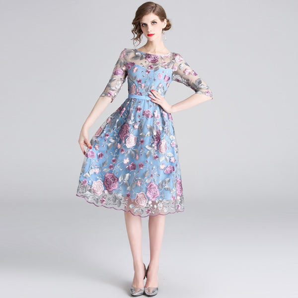 silver leaf pink floral pattern embroidery dress SHOPZIY