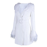 V-Neck Feather Slim Dress shopziy