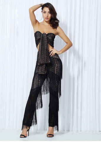 Lace Strap With Ruffle Tassel Two-Pieces Set