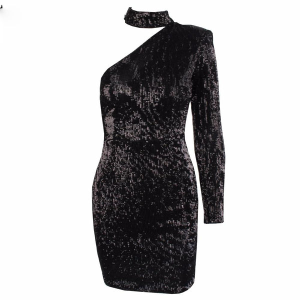 Cut Out Shoulder Elastic Sequin Party Dress shopziy