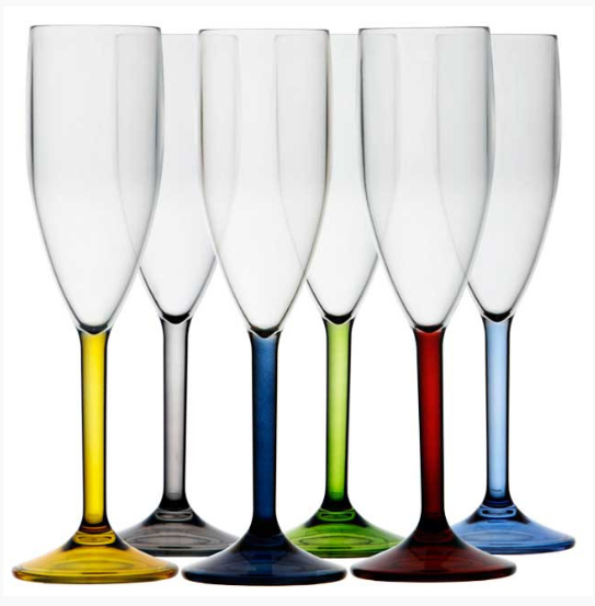 Champagne glass set of 6  Party Colours